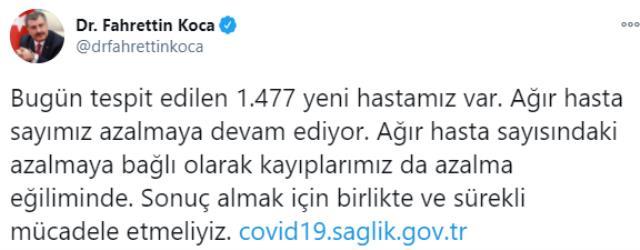 Son Dakika: Türkiye'de 5 Ocak günü koronavirüs nedeniyle 194 kişi vefat etti, 14 bin 494 yeni vaka tespit edildi