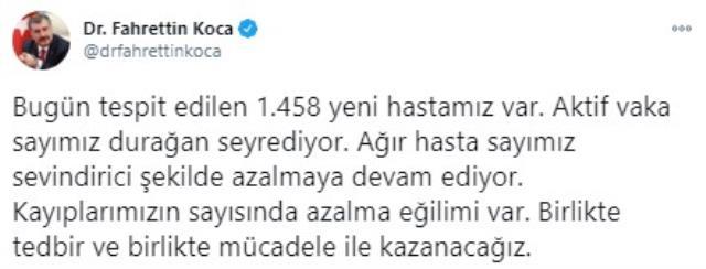 Son Dakika: Türkiye'de 6 Ocak günü koronavirüs nedeniyle 191 kişi vefat etti, 13 bin 830 yeni vaka tespit edildi