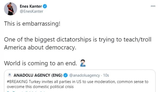 fetö'c Enes Kanter of Turkey's democracy was disturbed by his call for the US