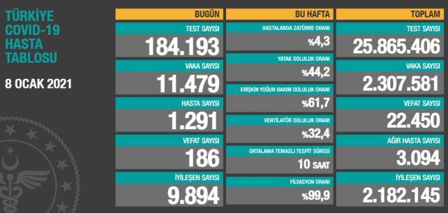 Son Dakika: Türkiye'de 8 Ocak günü koronavirüs nedeniyle 186 kişi vefat etti, 11 bin 479 yeni vaka tespit edildi