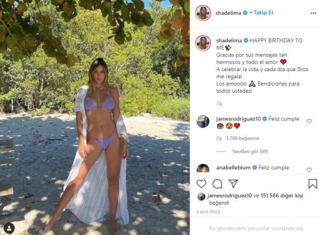 James Rodriguez's girlfriend, model Lima, celebrated her birthday with brave pose in bikini
