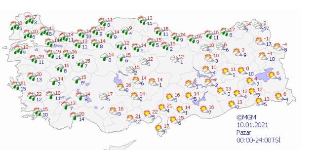 Meteoroloji'den bir il için turuncu, 9 il için sarı kodlu sağanak uyarısı