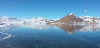 Taşlıçay: Son dakika haberi! Yüzeyi buz tutan Balık Gölü ziyaretçilerini cezbediyor