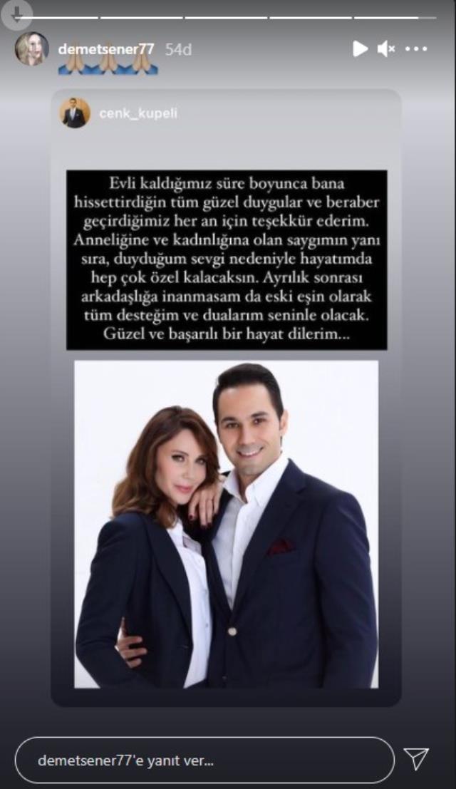 Demet Şener'le tek celsede boşanan Cenk Küpeli'den ilk açıklama: Desteğim her zaman seninle