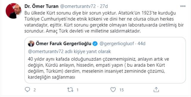 Ömer Turan, 'Türkiye'de Kürt sorunu yok' dedi, HDP'li Gergerlioğlu tepki gösterdi! İkili Twitter'da birbirine girdi