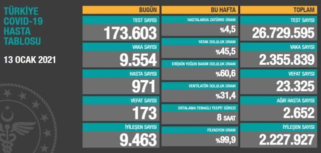 Son Dakika: Türkiye'de 13 Ocak günü koronavirüs nedeniyle 173 kişi vefat etti, 9 bin 554 yeni vaka tespit edildi