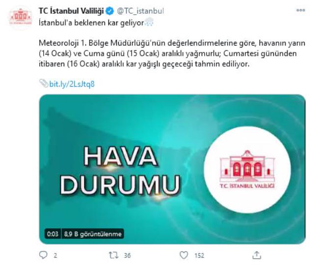 İstanbul'a beklenen kar geliyor! Valilik cuma gününe işaret etti