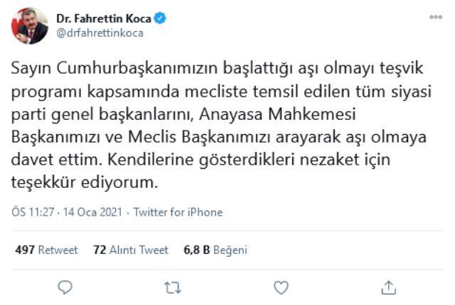 Sağlık Bakanı Koca, siyasi parti genel başkanlarını ve bürokratları aşı olmaya davet etti