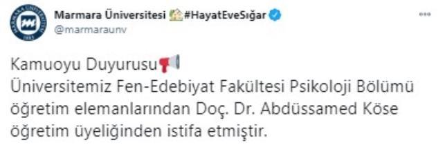 ABD'de çocuk istismarından tutuklandığı iddia edilen Doç. Dr. Abdüssamed Köse, Marmara Üniversitesi'nden istifa etti