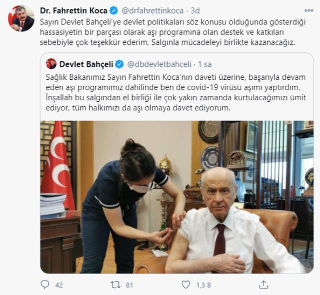 Son Dakika! Erdoğan, Bahçeli ve Akşener koronavirüs aşısı yaptırdı! Kılıçdaroğlu'nun ise bir şartı var