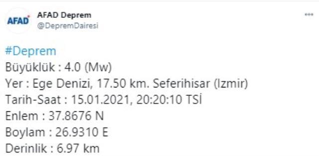 Son Dakika: İzmir Seferihisar'da 4 büyüklüğünde deprem meydana geldi