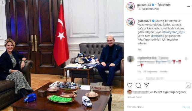Gülben Ergen Süleyman Soylu'yu ziyaret etti