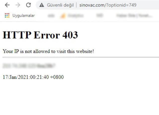 Korona aşısı aldığımız Sinovac'ın sitesine Türkiye'den erişilemiyor