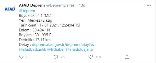 Son Dakika! Türkiye beşik gibi sallanıyor! Elazığ merkezde 4,1 büyüklüğünde deprem