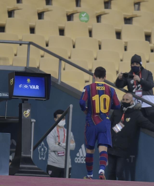 İspanya Süper Kupası'nı Athletic Bilbao kazandı, Messi kariyerinde ilk kez kırmızı gördü