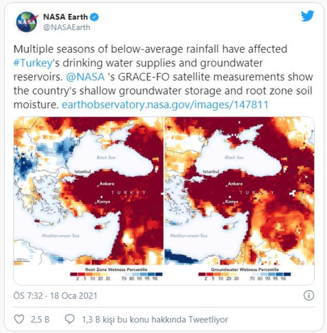 NASA, Türkiye'nin yer altı su ve rezervlerini gösteren bir harita yayınladı. Haritadaki bilgilere göre, Türkiye'deki kuraklık tehdidi yalnızca barajları değil, yer altı sularını da etkiliyor. NASA tarafından paylaşılan bilgilere göre Türkiye'nin büyük bir bölümünde yer altı suları ortalama seviyenin altında.
