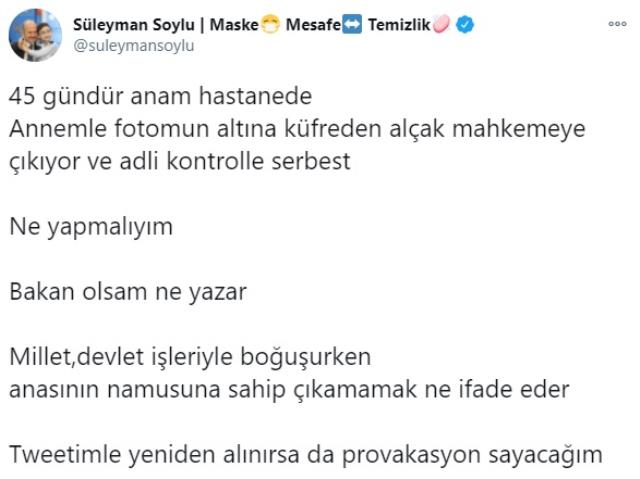 Adalet Bakanı Gül'den Bakan Soylu'nun annesine yönelik hakaretle ilgili açıklama: En ağır cezayı bulacağına inanıyorum
