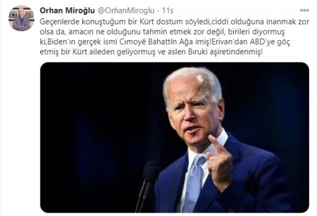 AK Partili Miroğlu'nun iddiası sosyal medyada gündem oldu: Biden Kürtmüş, gerçek adı da Cımoyê Bahattîn Ağa imiş