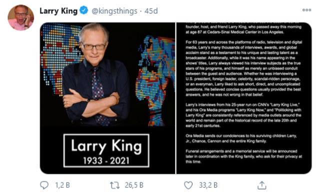 ABD'li ünlü televizyon sunucusu Larry King hayatını kaybetti
