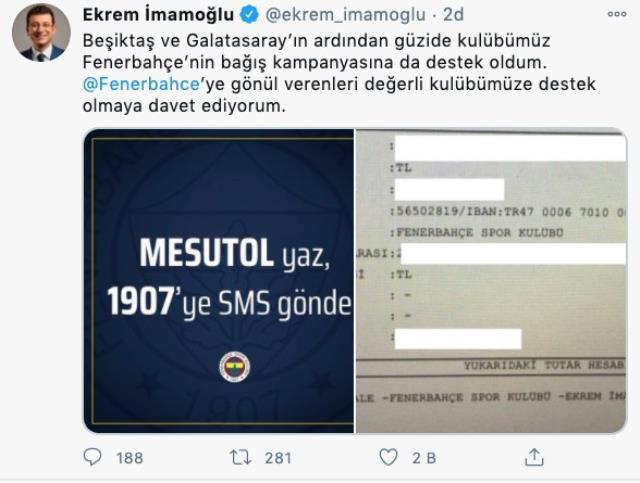 Ekrem İmamoğlu Fenerbahçe'nin kampanyasına da destekte bulundu