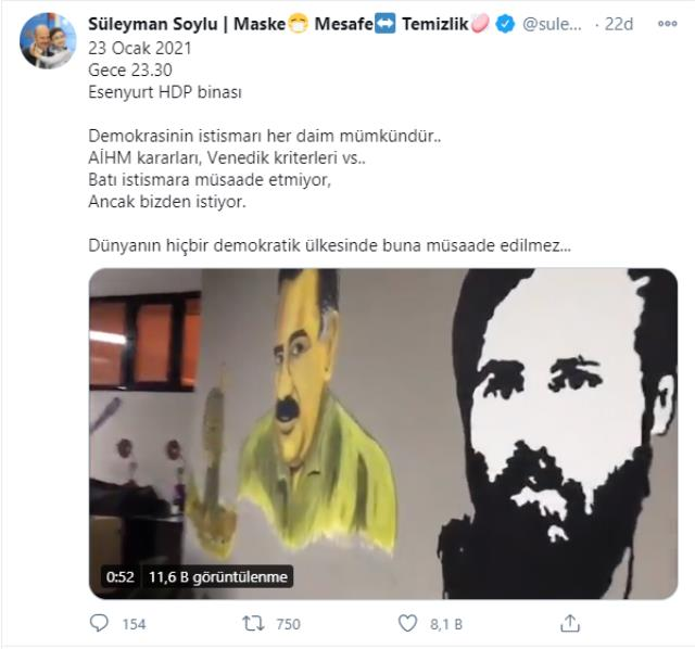 HDP binasındaki Öcalan posterleri ifşa olunca Soylu AİHM kararını hatırlattı: Batı istismara müsaade etmiyor, ancak bizden istiyor