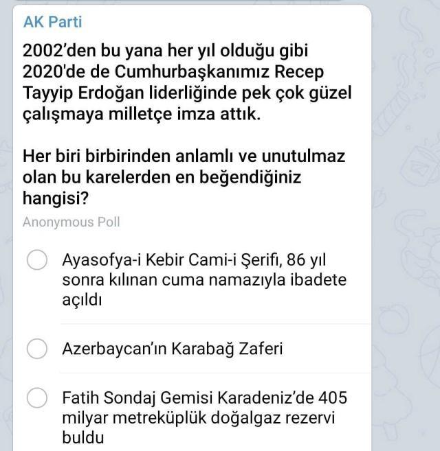 AK Parti'nin 2020'nin en beğenilen olayı anketinde ilk sırayı Ayasofya'nın ibadete açılması aldı