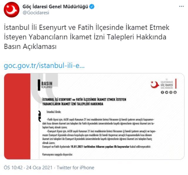 Esenyurt ve Fatih ilçelerinde yabancıların istisnalar hariç 'ikamet izin başvuruları' sınırlandırıldı