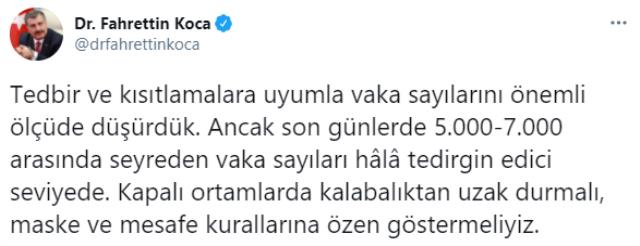 Son Dakika: Türkiye'de 26 Ocak günü koronavirüs nedeniyle 134 kişi vefat etti, 7 bin 103 yeni vaka tespit edildi