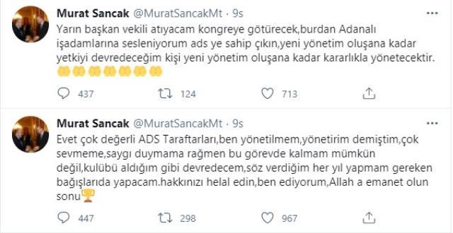 Adana Demirspor Başkanı Murat Sancak önce transfer iptal etti, sonra da görevini bıraktı