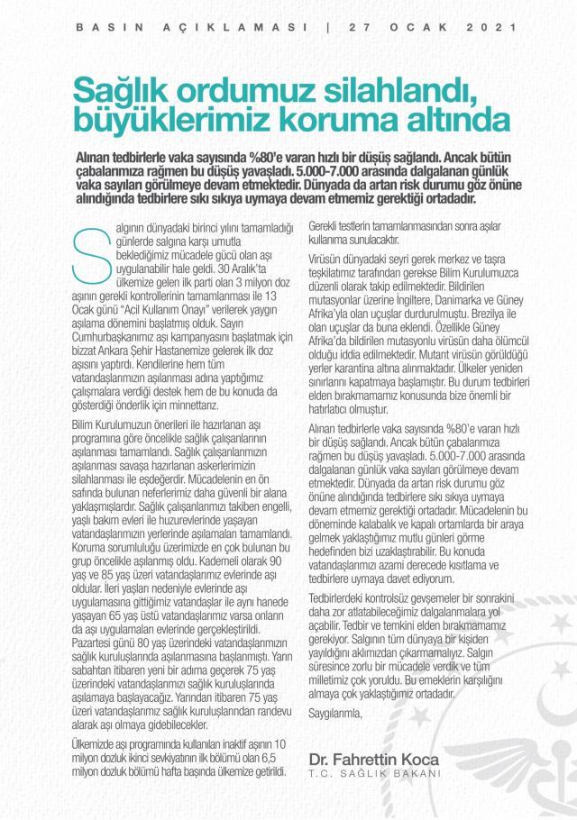Son Dakika: Bakan Koca'dan Bilim Kurulu sonrası kısıtlama mesajı: Kontrolsüz gevşeme dalgalanmalara yol açabilir