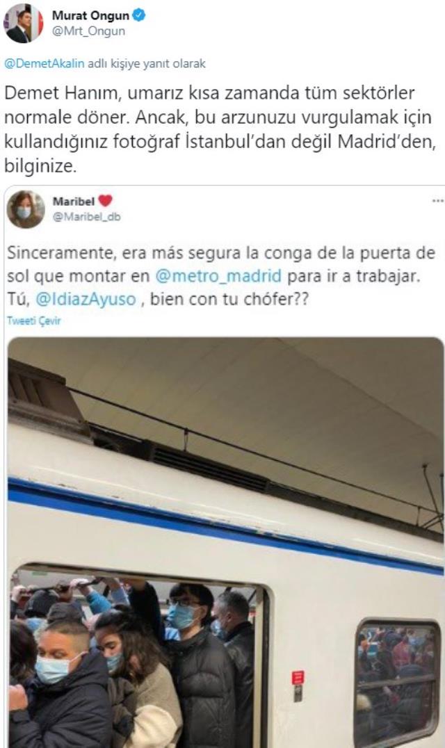 İBB Sözcüsü Murat Ongun, verdiği yanıtla metro paylaşımı yapan Demet Akalın'ı rezil etti