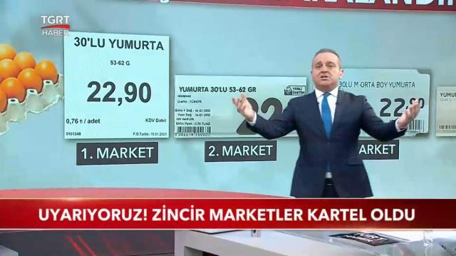 Ünlü haber sunucusu dört büyük marketin yumurta fiyatlarındaki oyununu canlı yayında deşifre etti