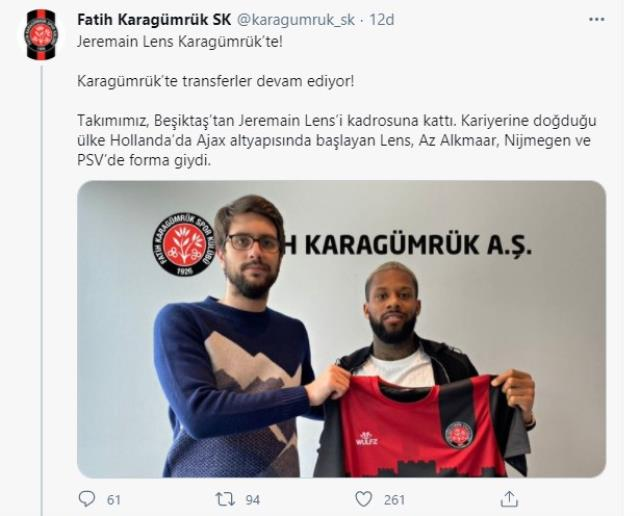 Beşiktaşlı Lens, Fatih Karagümrük'e transfer oldu