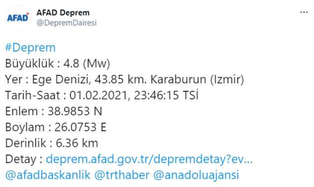 İzmir'de beşik gibi! Gün boyu sarsılan kentimizde 4.8 büyüklüğünde bir deprem daha