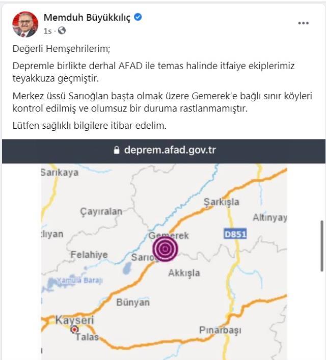 Kayseri'de en büyüğü 4.6 olan art arda 6 deprem