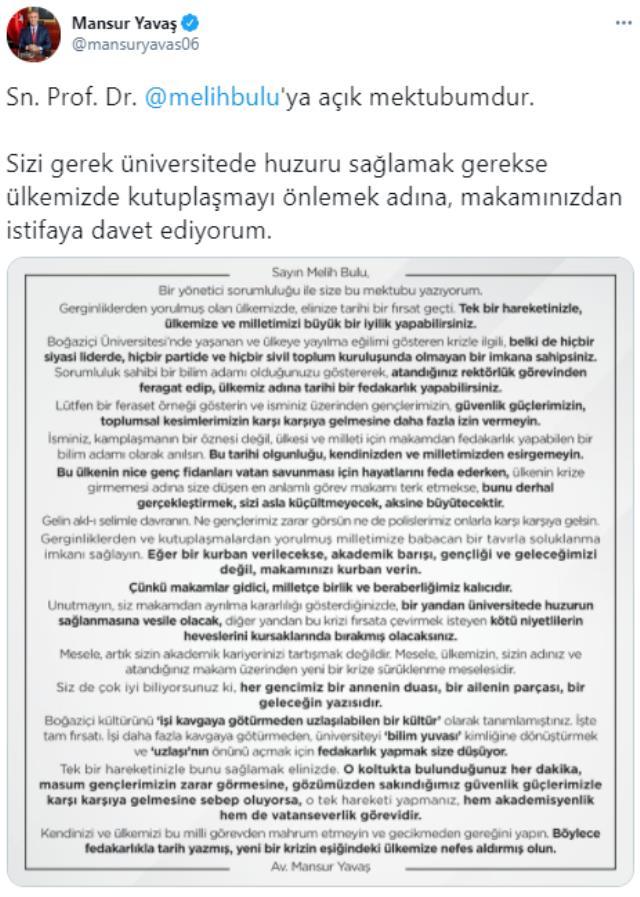 Ankara Büyükşehir Belediye Başkanı Yavaş'tan Boğaziçi Rektörü Melih Bulu için ikinci mektup: İstifa etmezse yayınlayacağım