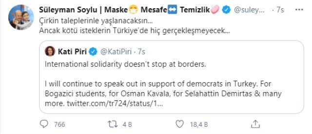 Türkiye'nin içişlerine karışan Piri'ye, Bakan Soylu'dan sert yanıt: Kirli taleplerinle yaşlanacaksın