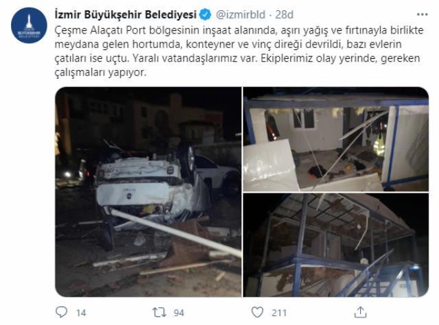 Doğal afetler İzmir'i vurmaya devam ediyor! Çeşme'de hortum, Güzelbahçe'de dolu