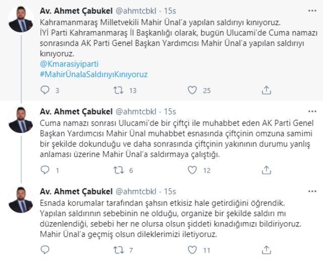 İYİ Partili isim sosyal medyada duyurdu: AK Partili Mahir Ünal'a Cuma namazı sonrası saldırı girişimi