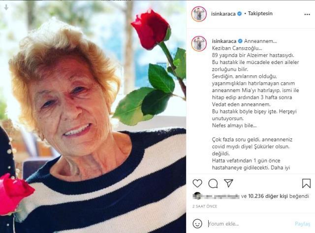 Şarkıcı Işın Karaca'nın anneannesi amansız hastalıktan hayatını kaybetti