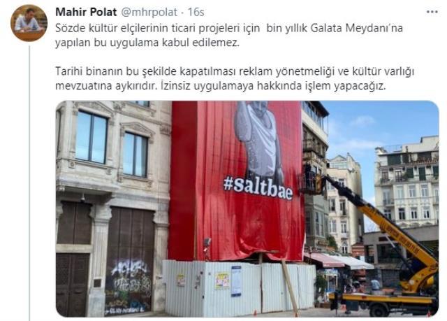 İBB'den Galata Meydan'ına afişini astıran Nusret Gökçe'ye sert tepki