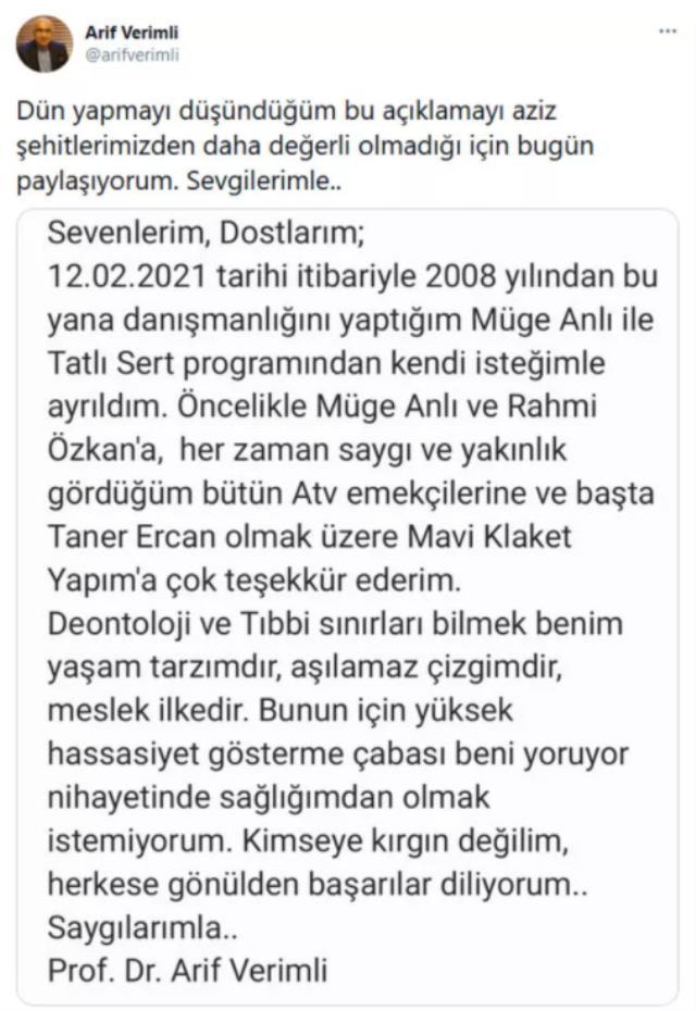 Psikiyatristi Arif Verimli, Müge Anlı'dan Şevkin Sözen yüzünden ayrıldığını doğruladı