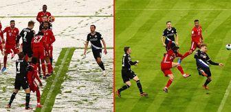 Robert Lewandowski: Bayern-Bielefeld maçının ilk yarısında kardan bembeyaz olan saha, ikinci yarıda temizlenerek eski haline getirildi