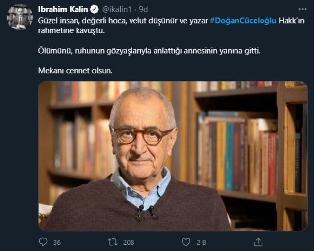 Doğan Cüceloğlu'nun ölümünün ardından paylaşılan başsağlığı mesajları