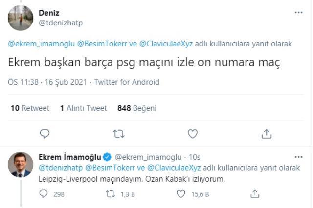 'Ekrem başkan, Barcelona-PSG maçını izle' diyen takipçisine İmamoğlu'ndan yanıt: Ozan Kabak'ı izliyorum