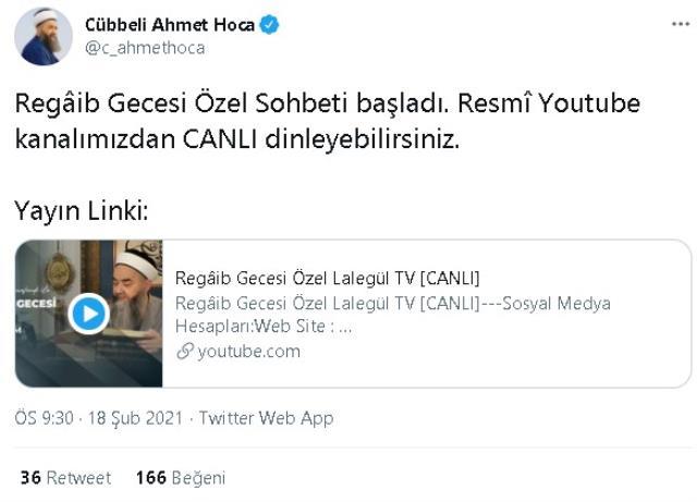 Bugün Cübbeli Ahmet Hoca sohbet programı yok mu? Lalegül TV sohbet neden başlamadı, ne zaman başlayacak?