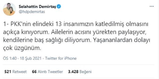 Selahattin Demirtaş'tan 13 şehit için terör örgütü PKK'ya kınama