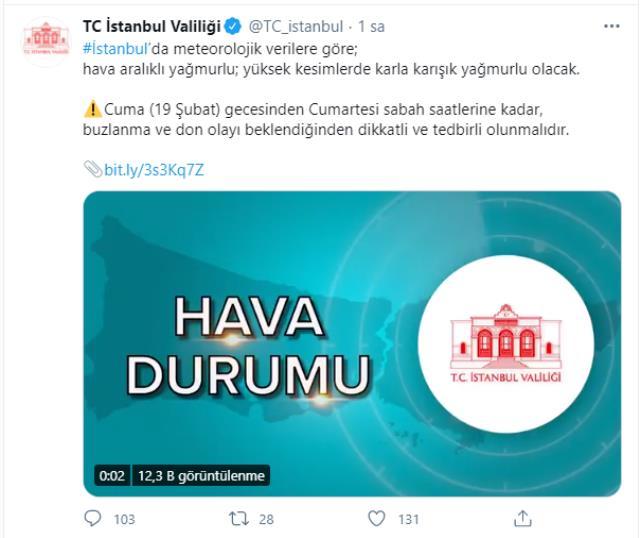Valilik ilçe ilçe uyardı; soğuk hava bir müddet daha İstanbul'da
