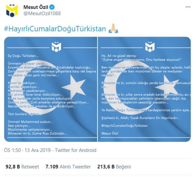 Arsenal CEO denied allegations that Mesut Özil was sent for sharing 'Uighur Turks'