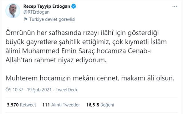 Türkiye'nin önde gelen hadis alimlerinden Emin Saraç hayatını kaybetti